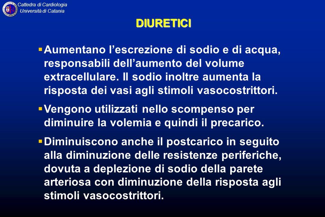 Cattedra di Cardiologia Università di CataniaDIURETICI Aumentano lescrezione di sodio e di acqua, responsabili dellaumento del volume extracellulare.