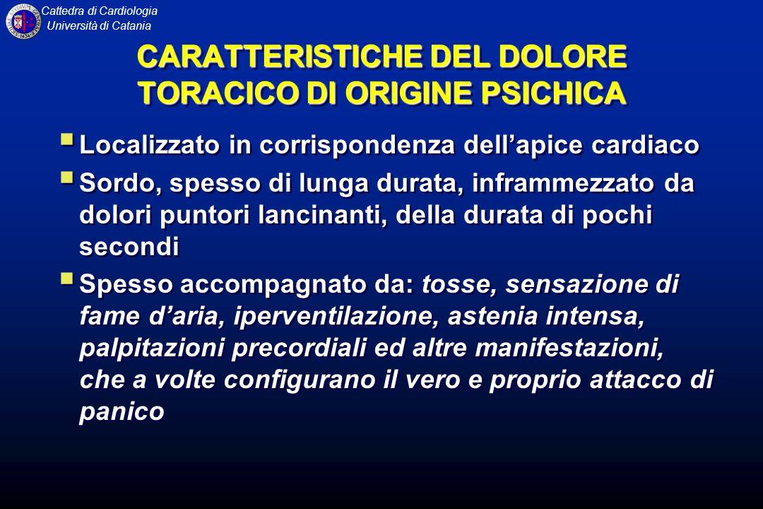 Cattedra di Cardiologia Università di Catania CARATTERISTICHE DEL DOLORE TORACICO DI ORIGINE PSICHICA Localizzato in corrispondenza dellapice cardiaco