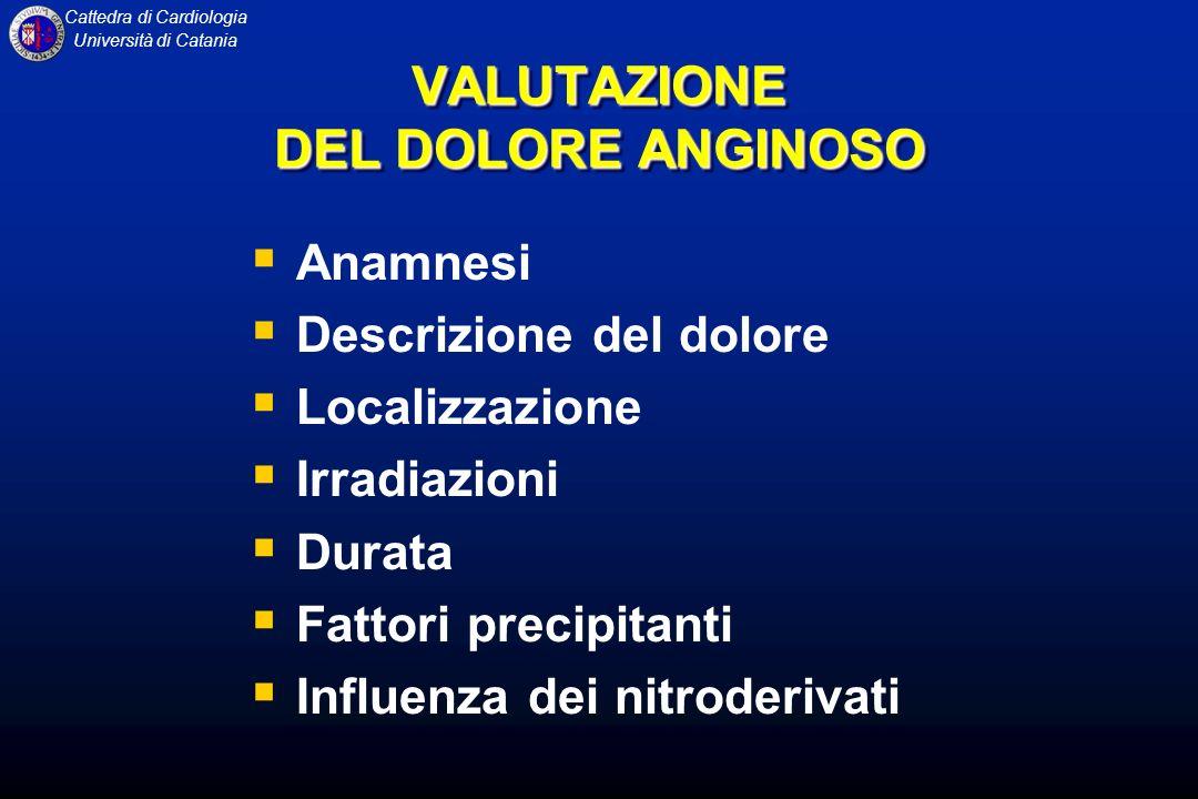 Cattedra di Cardiologia Università di Catania VALUTAZIONE DEL DOLORE ANGINOSO Anamnesi Descrizione del dolore Localizzazione Irradiazioni Durata Fatto