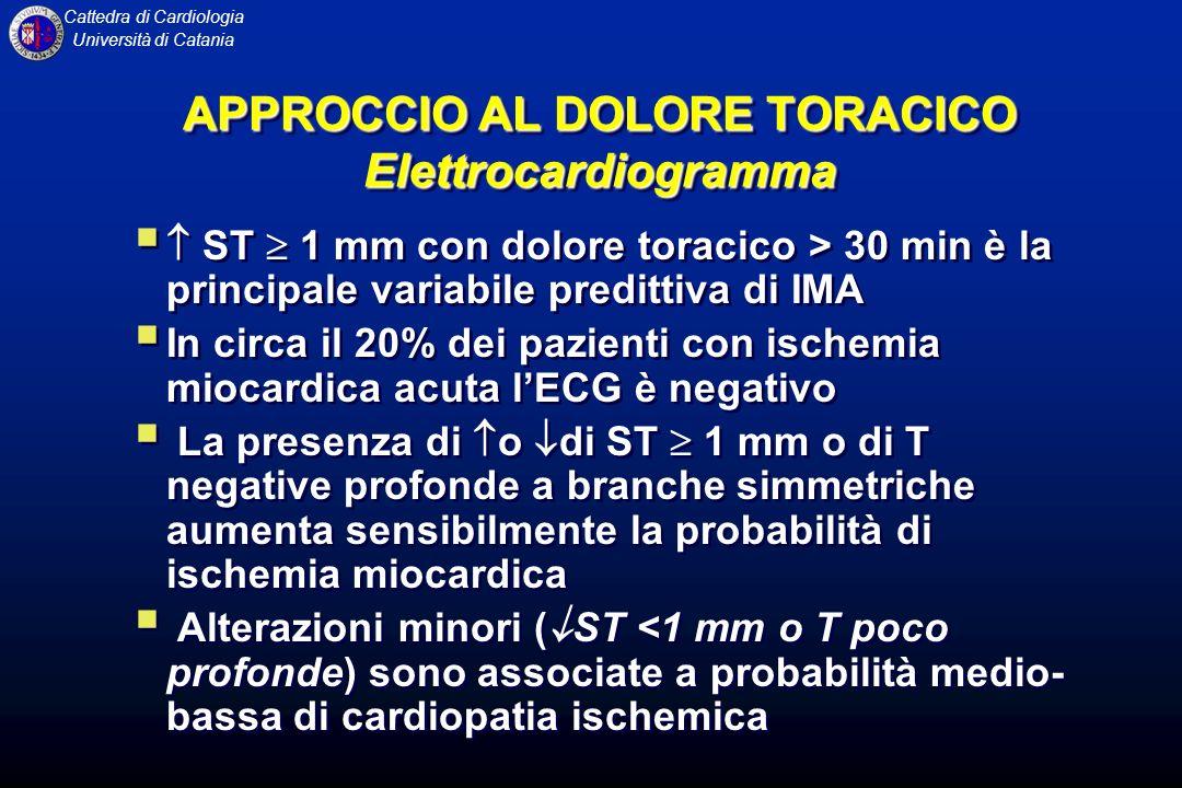 Cattedra di Cardiologia Università di Catania APPROCCIO AL DOLORE TORACICO Elettrocardiogramma ST 1 mm con dolore toracico > 30 min è la principale va