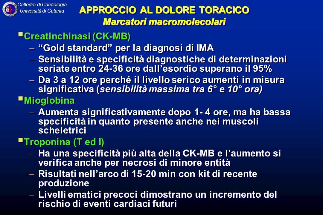 Cattedra di Cardiologia Università di Catania APPROCCIO AL DOLORE TORACICO Marcatori macromolecolari Creatinchinasi (CK-MB) Gold standard per la diagn