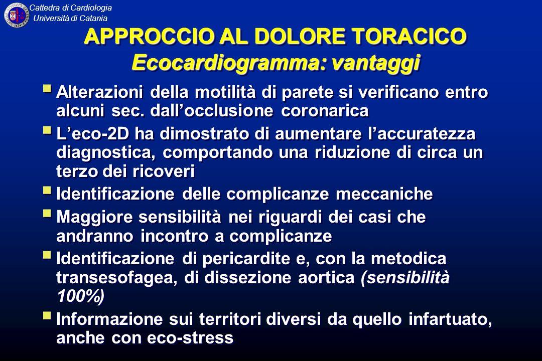 Cattedra di Cardiologia Università di Catania APPROCCIO AL DOLORE TORACICO Ecocardiogramma: vantaggi Alterazioni della motilità di parete si verifican