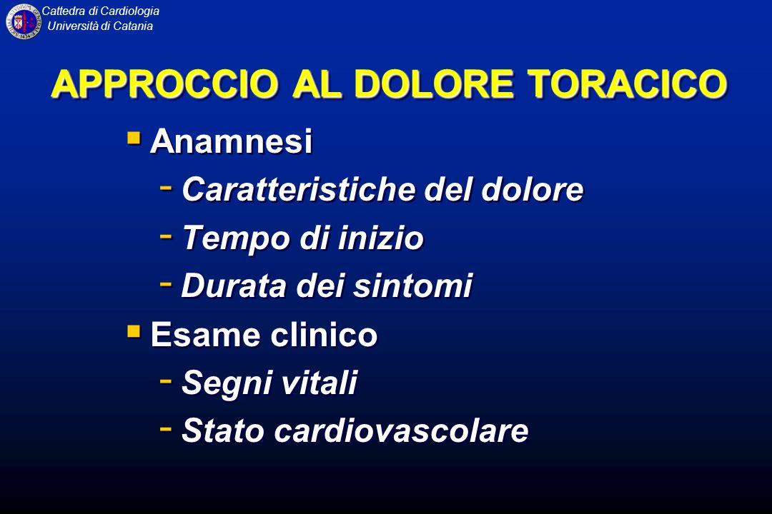 Cattedra di Cardiologia Università di Catania APPROCCIO AL DOLORE TORACICO Anamnesi - Caratteristiche del dolore - Tempo di inizio - Durata dei sintom