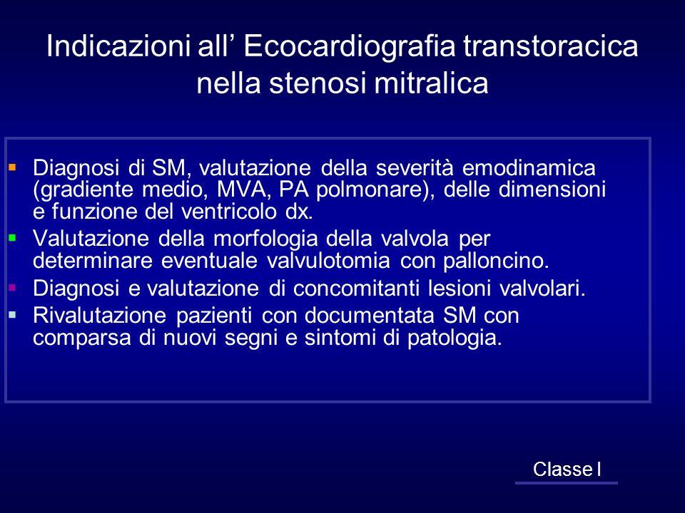 Indicazioni all Ecocardiografia transtoracica nella stenosi mitralica Diagnosi di SM, valutazione della severità emodinamica (gradiente medio, MVA, PA