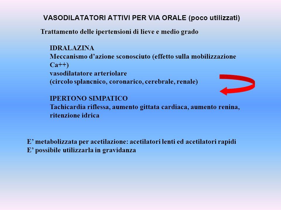 VASODILATATORI ATTIVI PER VIA ORALE (poco utilizzati) Trattamento delle ipertensioni di lieve e medio grado IDRALAZINA Meccanismo dazione sconosciuto