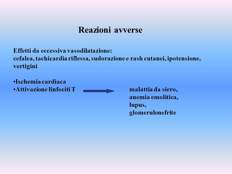 Effetti da eccessiva vasodilatazione: cefalea, tachicardia riflessa, sudorazione e rash cutanei, ipotensione, vertigini Ischemia cardiaca Attivazione