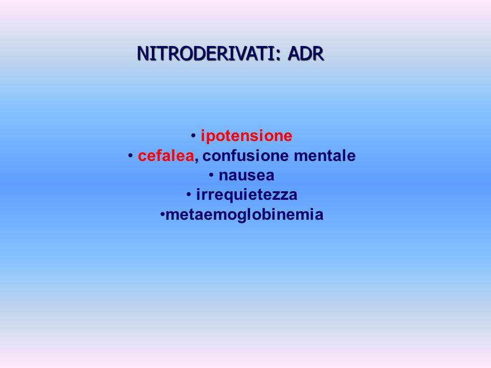 ipotensione cefalea, confusione mentale nausea irrequietezza metaemoglobinemia NITRODERIVATI: ADR