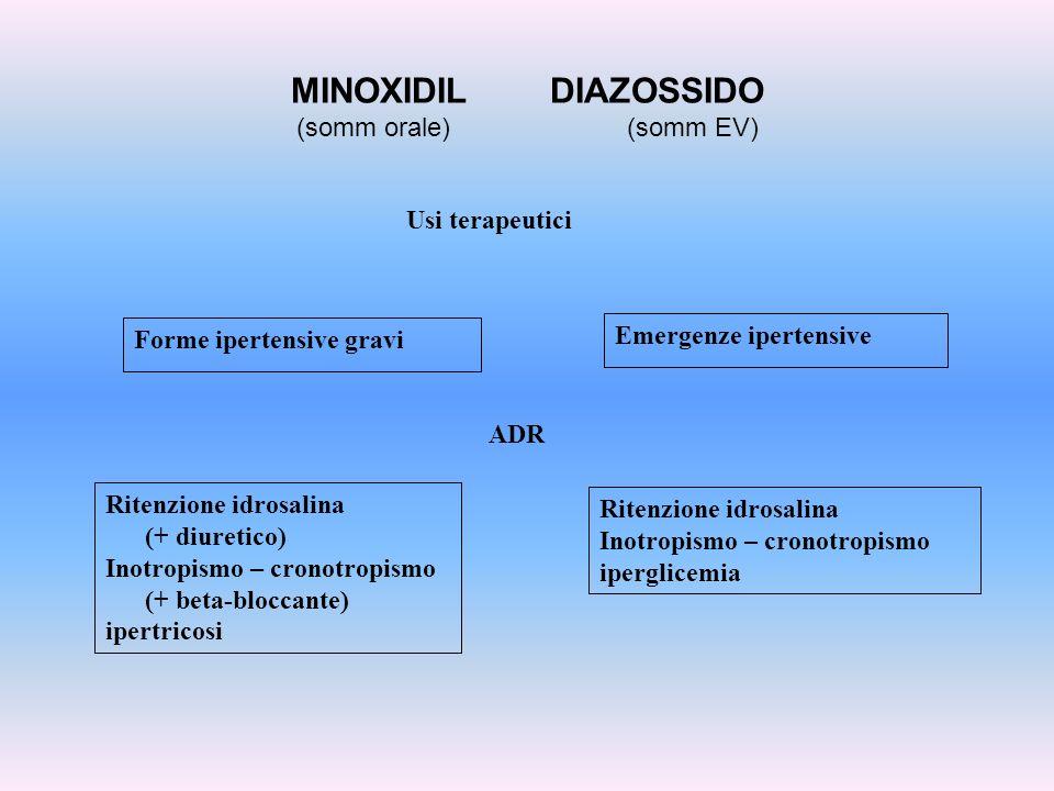 MINOXIDIL DIAZOSSIDO (somm orale) (somm EV) Usi terapeutici Forme ipertensive gravi Emergenze ipertensive ADR Ritenzione idrosalina (+ diuretico) Inot