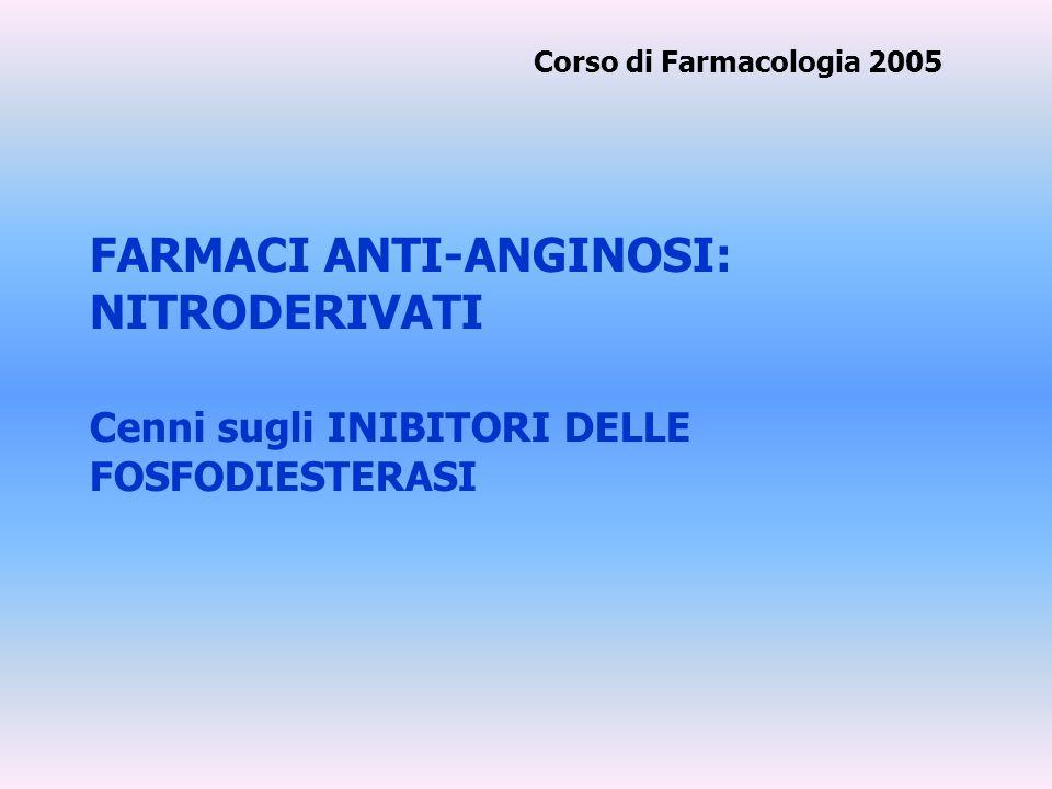 FARMACI ANTI-ANGINOSI: NITRODERIVATI Cenni sugli INIBITORI DELLE FOSFODIESTERASI Corso di Farmacologia 2005