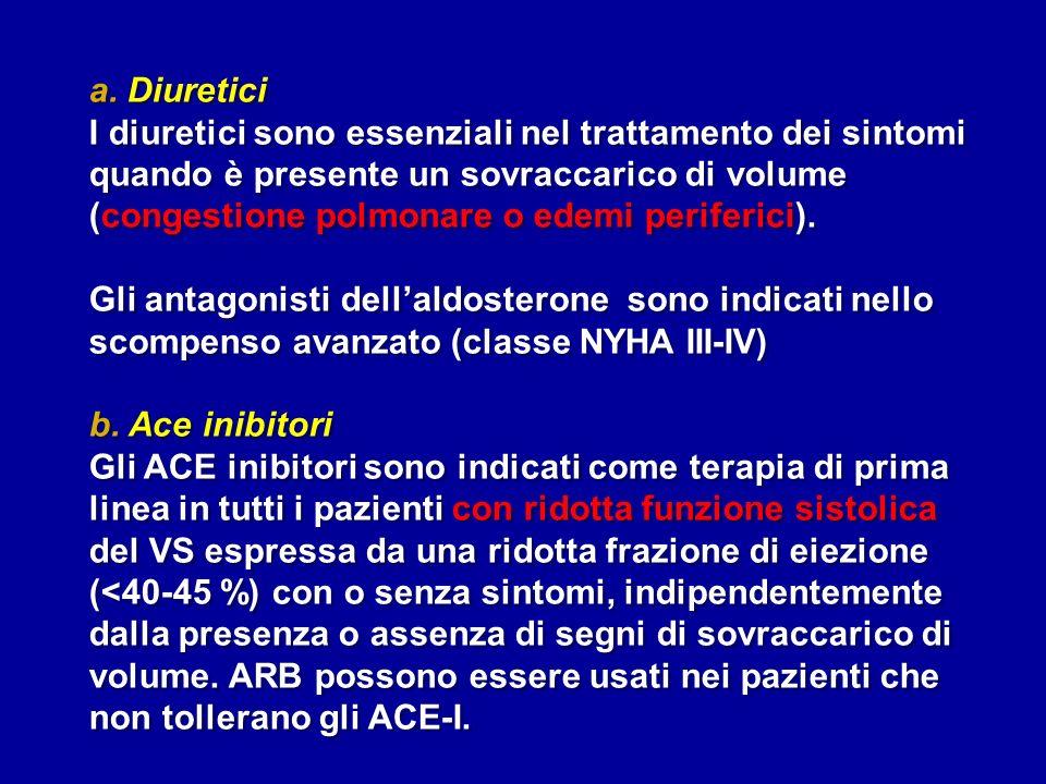 a. Diuretici I diuretici sono essenziali nel trattamento dei sintomi quando è presente un sovraccarico di volume (congestione polmonare o edemi perife