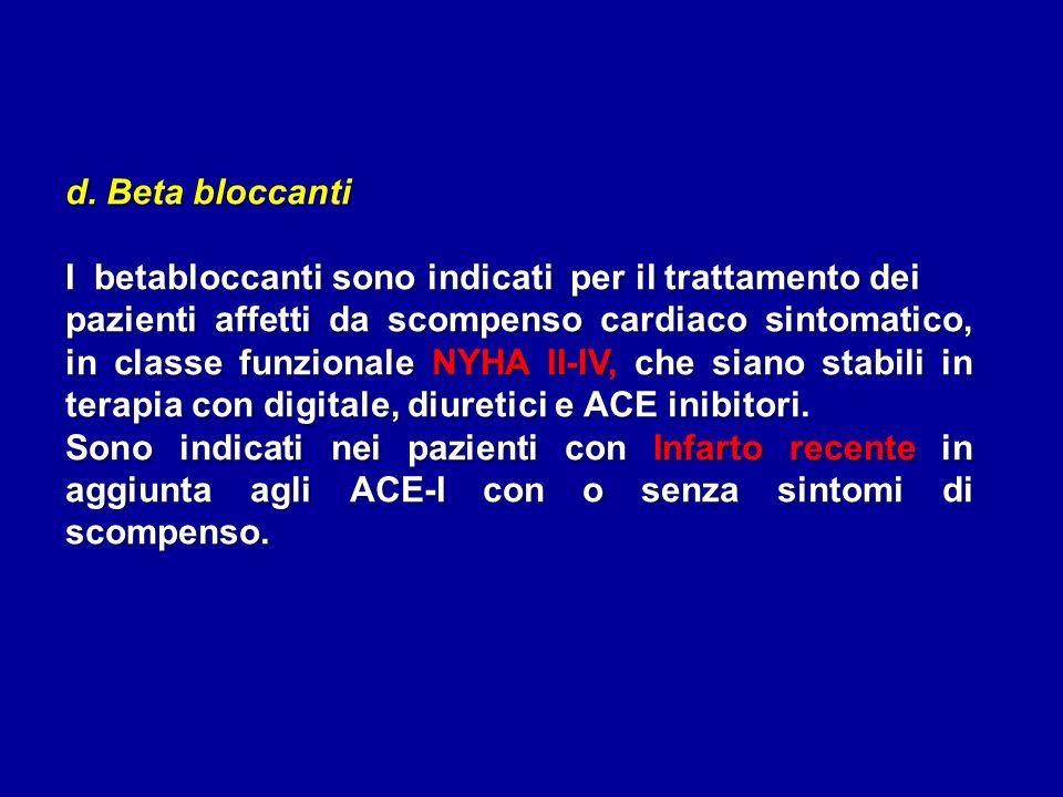 d. Beta bloccanti I betabloccanti sono indicati per il trattamento dei pazienti affetti da scompenso cardiaco sintomatico, in classe funzionale NYHA I