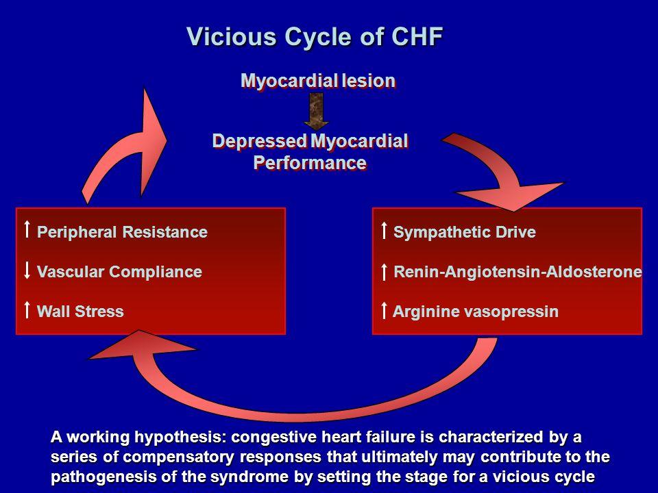 Sympathetic Drive Renin-Angiotensin-Aldosterone Arginine vasopressin Peripheral Resistance Vascular Compliance Wall Stress Vicious Cycle of CHF Myocar