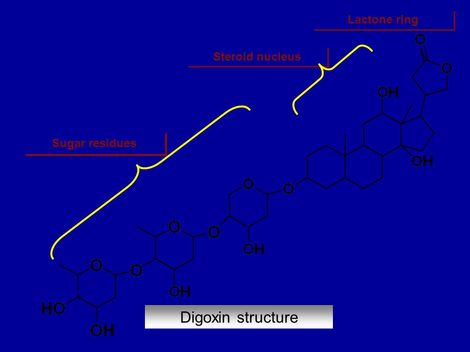 Steroid nucleus Digoxin structure Sugar residues Lactone ring