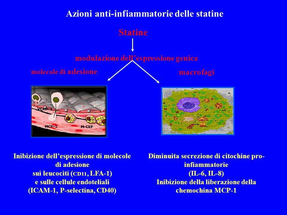 Statine modulazione dellespressione genica Diminuita secrezione di citochine pro- infiammatorie (IL-6, IL-8) Inibizione della liberazione della chemochina MCP-1 Inibizione dellespressione di molecole di adesione sui leucociti ( CD11, LFA-1) e sulle cellule endoteliali (ICAM-1, P-selectina, CD40) molecole di adesione macrofagi Azioni anti-infiammatorie delle statine