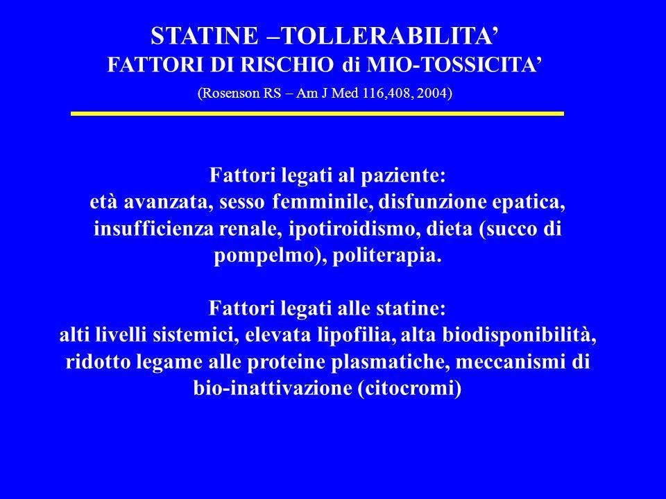 STATINE –TOLLERABILITA FATTORI DI RISCHIO di MIO-TOSSICITA (Rosenson RS – Am J Med 116,408, 2004) Fattori legati al paziente: età avanzata, sesso femminile, disfunzione epatica, insufficienza renale, ipotiroidismo, dieta (succo di pompelmo), politerapia.
