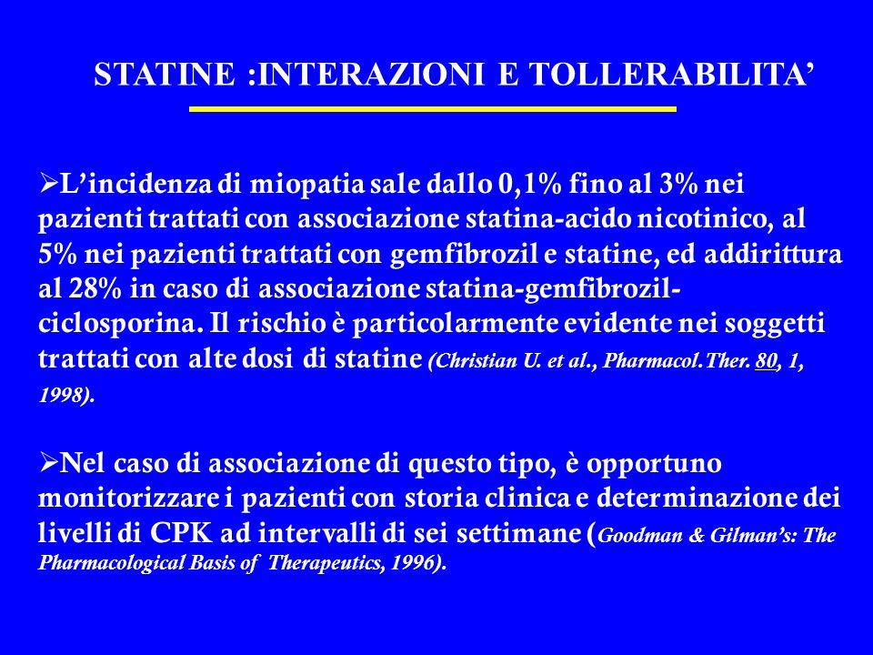 STATINE :INTERAZIONI E TOLLERABILITA Lincidenza di miopatia sale dallo 0,1% fino al 3% nei pazienti trattati con associazione statina-acido nicotinico