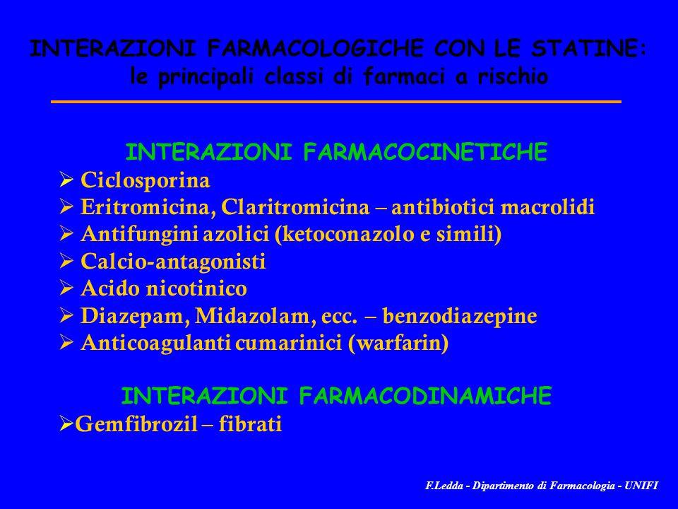 INTERAZIONI FARMACOLOGICHE CON LE STATINE: le principali classi di farmaci a rischio INTERAZIONI FARMACOCINETICHE Ciclosporina Eritromicina, Claritromicina – antibiotici macrolidi Antifungini azolici (ketoconazolo e simili) Calcio-antagonisti Acido nicotinico Diazepam, Midazolam, ecc.