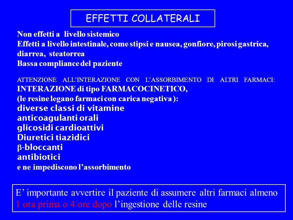 EFFETTI COLLATERALI Non effetti a livello sistemico Effetti a livello intestinale, come stipsi e nausea, gonfiore, pirosi gastrica, diarrea, steatorrea Bassa compliance del paziente ATTENZIONE ALLINTERAZIONE CON LASSORBIMENTO DI ALTRI FARMACI: INTERAZIONE di tipo FARMACOCINETICO, (le resine legano farmaci con carica negativa ): diverse classi di vitamine anticoagulanti orali glicosidi cardioattivi Diuretici tiazidici -bloccanti antibiotici e ne impediscono lassorbimento E importante avvertire il paziente di assumere altri farmaci almeno 1 ora prima o 4 ore dopo lingestione delle resine