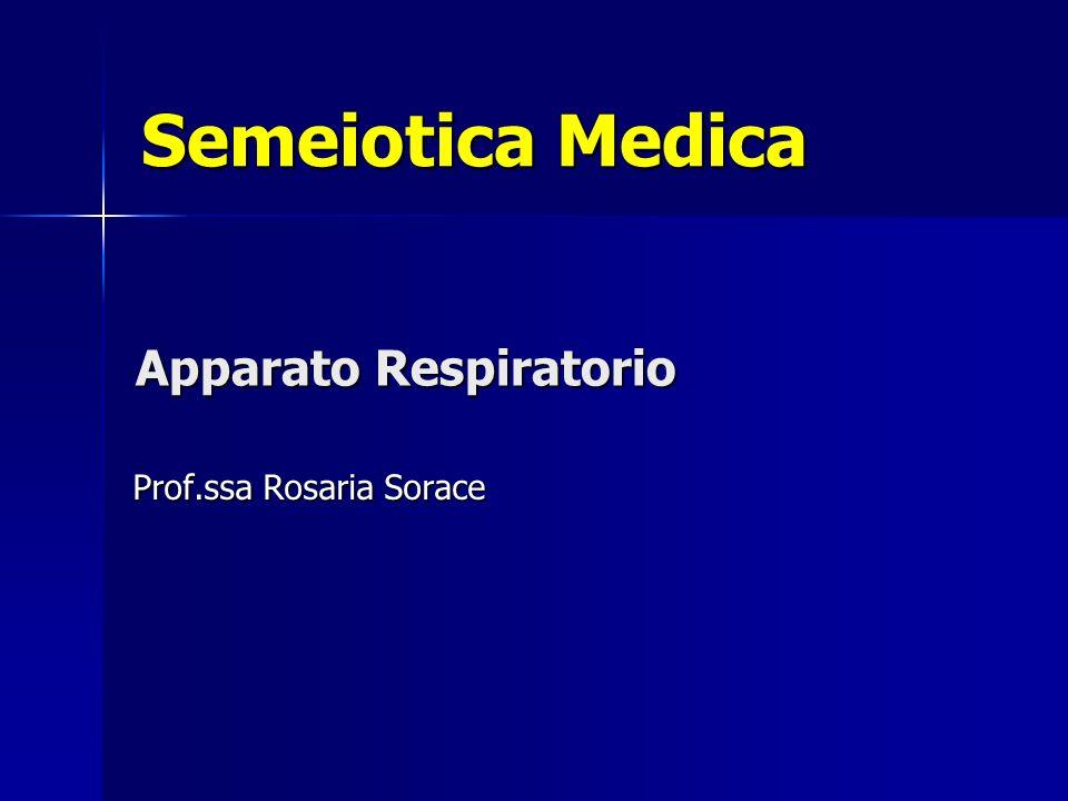 Apparato Respiratorio Prof.ssa Rosaria Sorace Semeiotica Medica