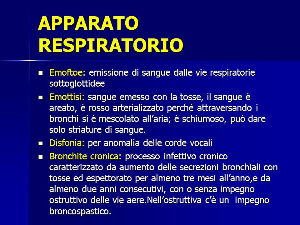 Emoftoe: emissione di sangue dalle vie respiratorie sottoglottidee Emottisi: sangue emesso con la tosse, il sangue è areato, è rosso arterializzato pe