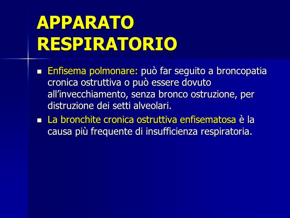 Enfisema polmonare: può far seguito a broncopatia cronica ostruttiva o può essere dovuto allinvecchiamento, senza bronco ostruzione, per distruzione dei setti alveolari.