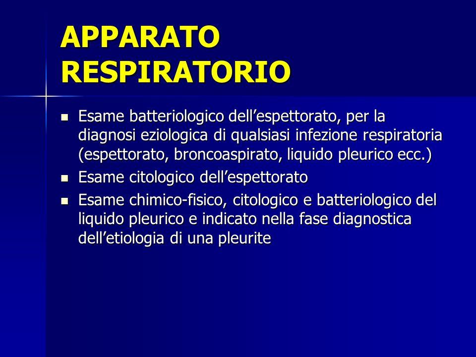 Esame batteriologico dellespettorato, per la diagnosi eziologica di qualsiasi infezione respiratoria (espettorato, broncoaspirato, liquido pleurico ec