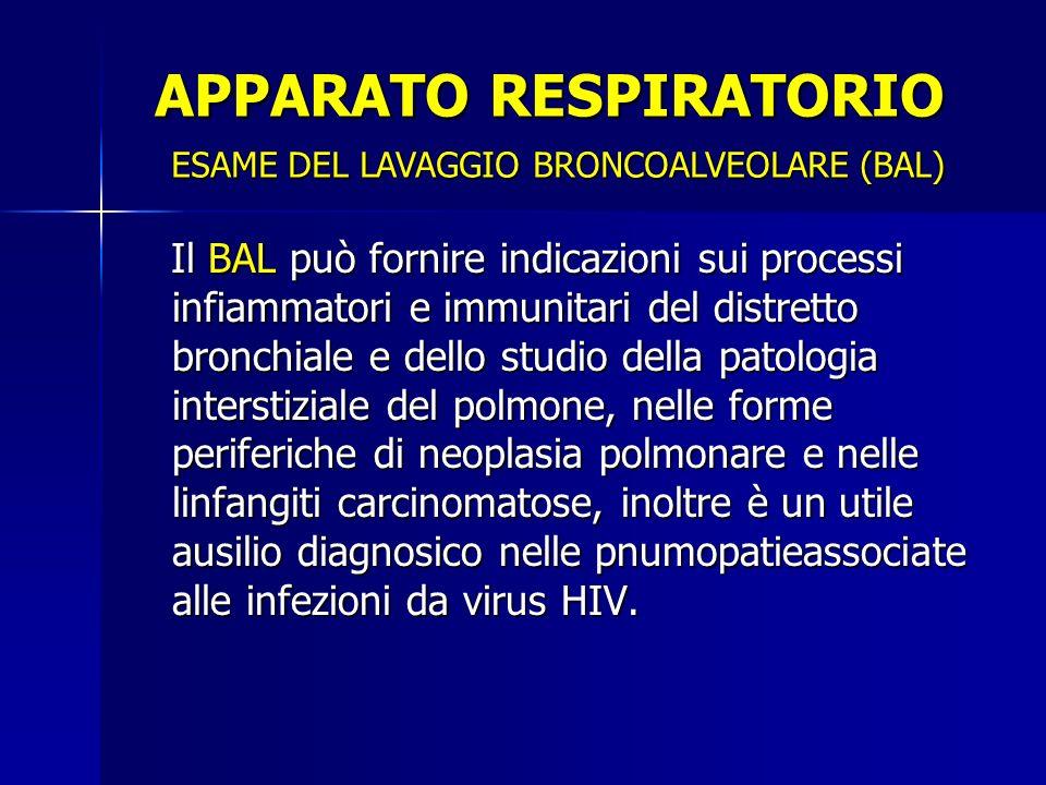 Il BAL può fornire indicazioni sui processi infiammatori e immunitari del distretto bronchiale e dello studio della patologia interstiziale del polmone, nelle forme periferiche di neoplasia polmonare e nelle linfangiti carcinomatose, inoltre è un utile ausilio diagnosico nelle pnumopatieassociate alle infezioni da virus HIV.