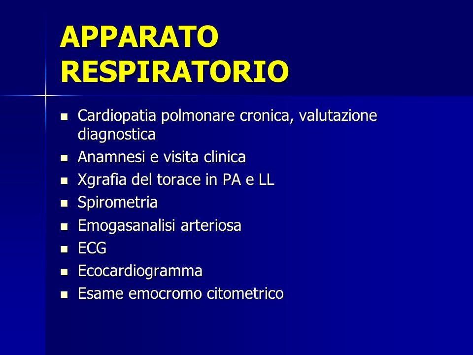 Cardiopatia polmonare cronica, valutazione diagnostica Anamnesi e visita clinica Xgrafia del torace in PA e LL Spirometria Emogasanalisi arteriosa ECG Ecocardiogramma Esame emocromo citometrico
