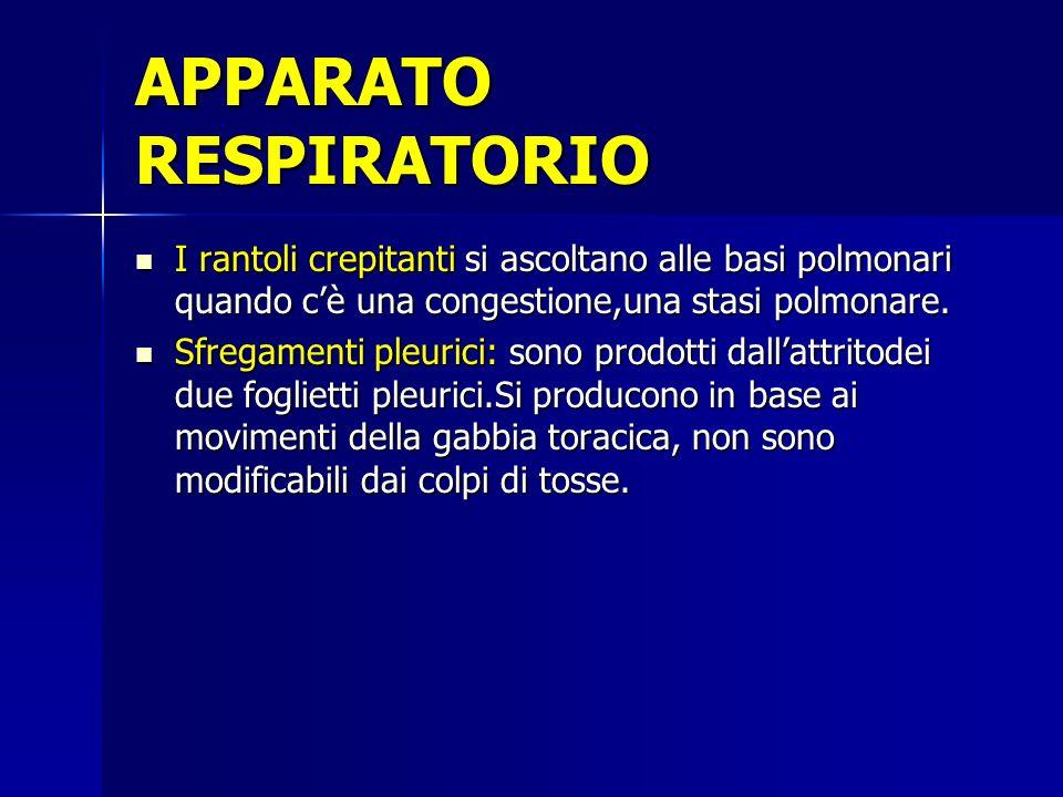 APPARATO RESPIRATORIO I rantoli crepitanti si ascoltano alle basi polmonari quando cè una congestione,una stasi polmonare. Sfregamenti pleurici: sono