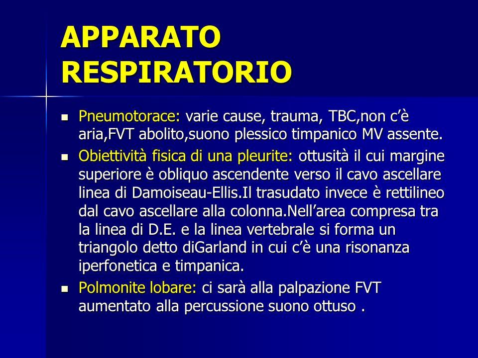Pneumotorace: varie cause, trauma, TBC,non cè aria,FVT abolito,suono plessico timpanico MV assente. Pneumotorace: varie cause, trauma, TBC,non cè aria