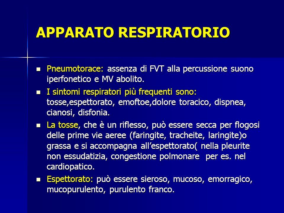 APPARATO RESPIRATORIO Pneumotorace: assenza di FVT alla percussione suono iperfonetico e MV abolito. I sintomi respiratori più frequenti sono: tosse,e