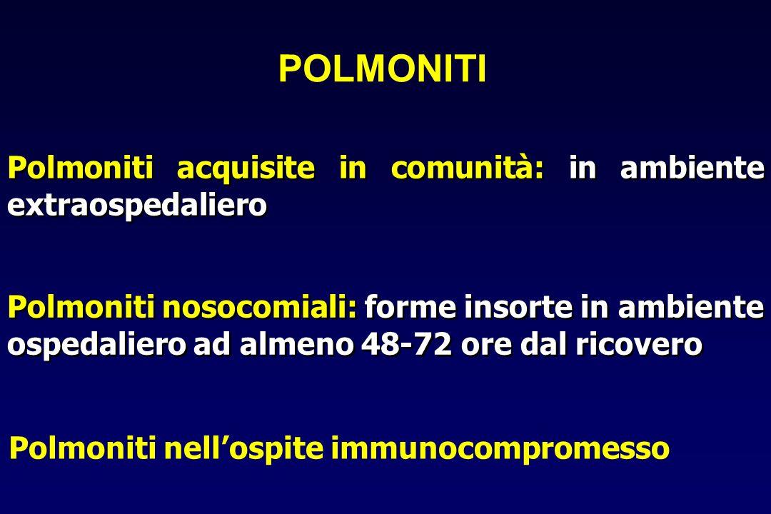 Diagnosi di polmonite infettiva Paziente ambulatoriale Valutazione della gravità Paziente ospedalizzato Esame obiettivo Rx Torace Sospetto di polmonite Polmonite extraospedaliera DIAGNOSI