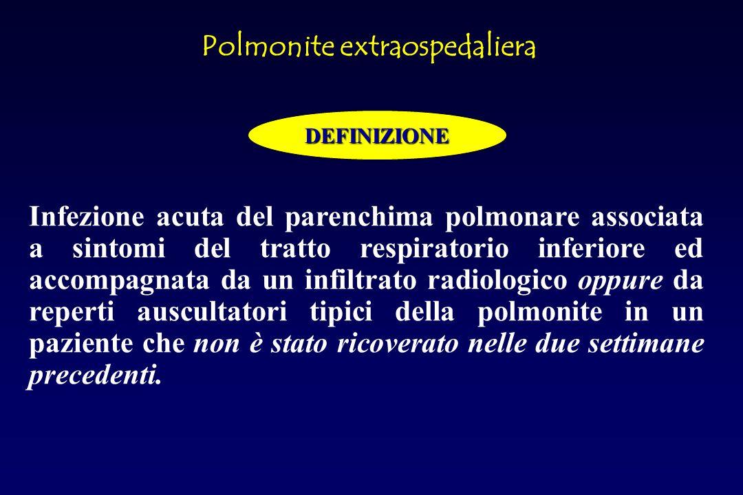 Polmonite extraospedaliera DEFINIZIONE Infezione acuta del parenchima polmonare associata a sintomi del tratto respiratorio inferiore ed accompagnata da un infiltrato radiologico oppure da reperti auscultatori tipici della polmonite in un paziente che non è stato ricoverato nelle due settimane precedenti.