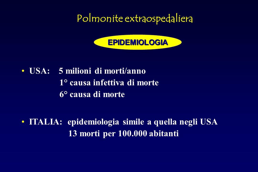 Pneumocisti carinii (44,5%) Batteri (25%) TBC (12,3%) Aspecifiche interstiziali (6,1%) Pneumocisti carinii+TBC (4,6%) Citomegalovirus(3%) Pneumocisti carinii+criptococcus (1,5%) Candida (1,5%) Polmonite nel paziente immunocompromessoEZIOLOGIA