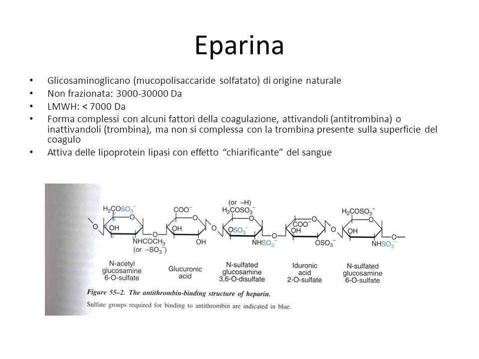 Eparina Glicosaminoglicano (mucopolisaccaride solfatato) di origine naturale Non frazionata: 3000-30000 Da LMWH: < 7000 Da Forma complessi con alcuni
