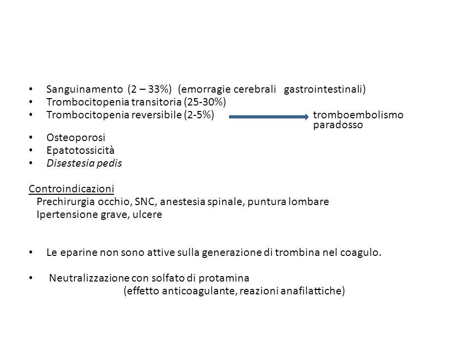 Sanguinamento (2 – 33%) (emorragie cerebrali gastrointestinali) Trombocitopenia transitoria (25-30%) Trombocitopenia reversibile (2-5%) tromboembolism