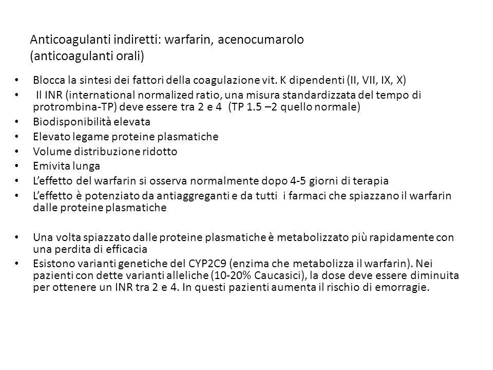 Anticoagulanti indiretti: warfarin, acenocumarolo (anticoagulanti orali) Blocca la sintesi dei fattori della coagulazione vit. K dipendenti (II, VII,