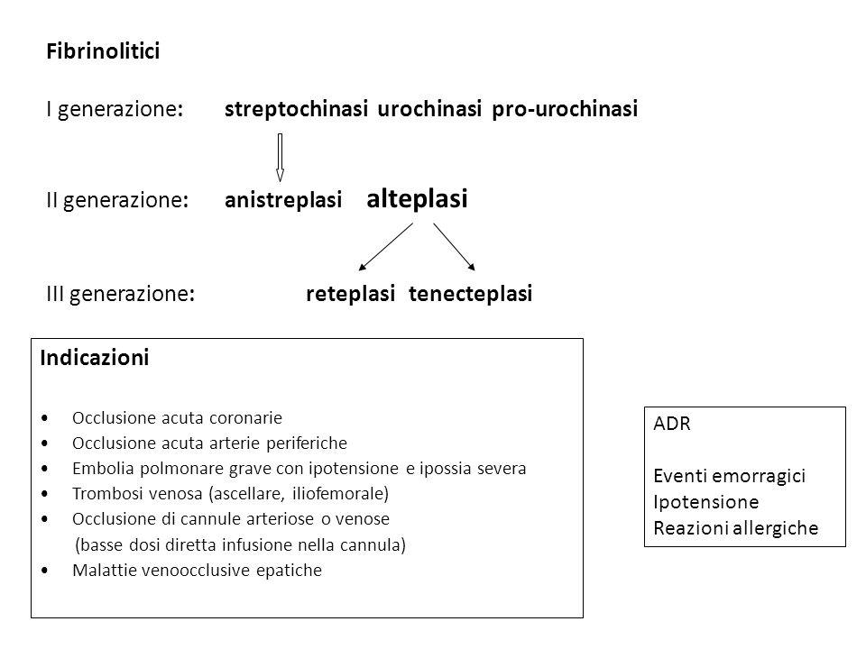 Fibrinolitici I generazione: streptochinasi urochinasi pro-urochinasi II generazione: anistreplasi alteplasi III generazione: reteplasi tenecteplasi A