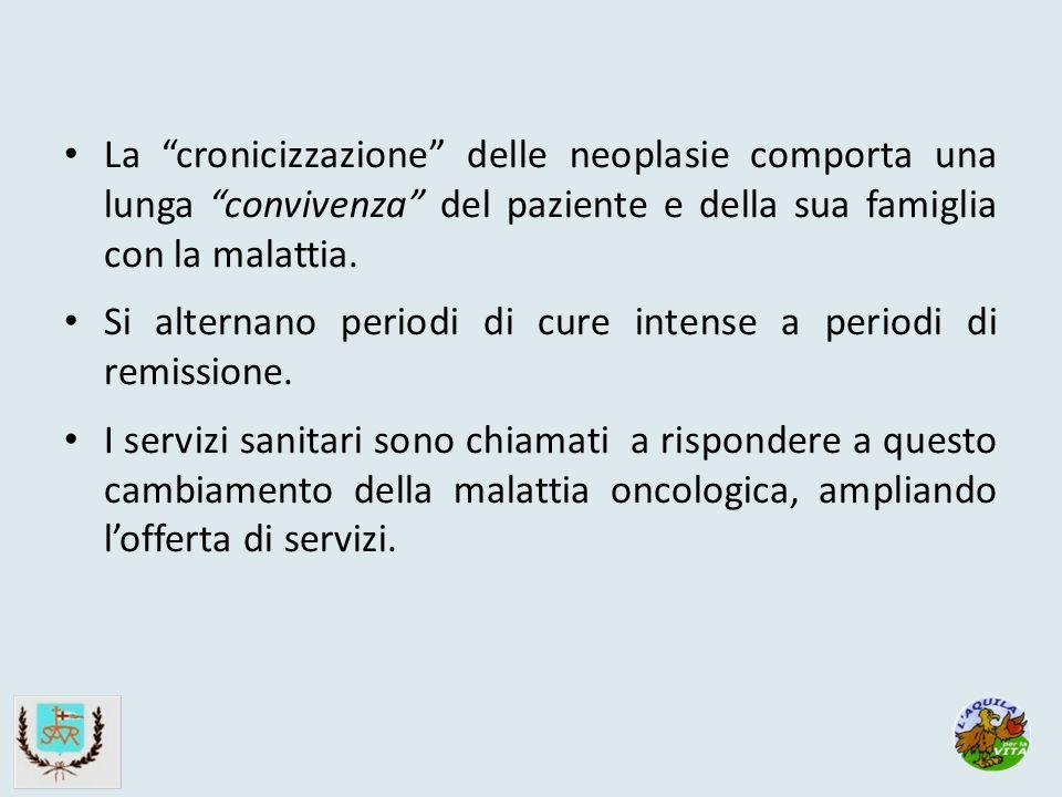 La cronicizzazione delle neoplasie comporta una lunga convivenza del paziente e della sua famiglia con la malattia.