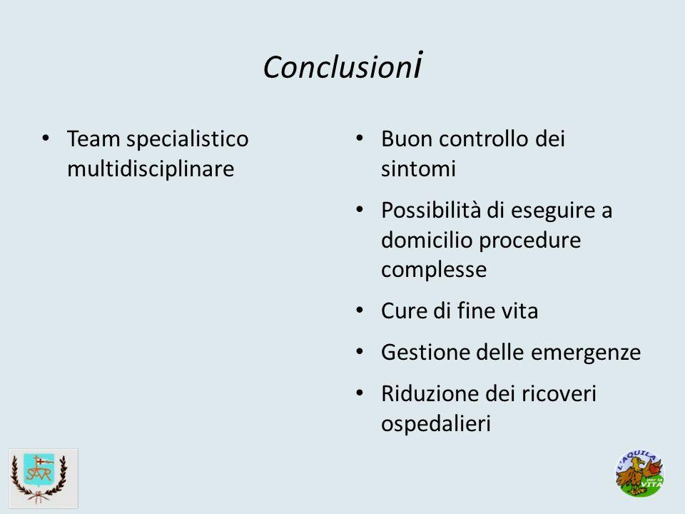 Conclusion i Team specialistico multidisciplinare Buon controllo dei sintomi Possibilità di eseguire a domicilio procedure complesse Cure di fine vita Gestione delle emergenze Riduzione dei ricoveri ospedalieri