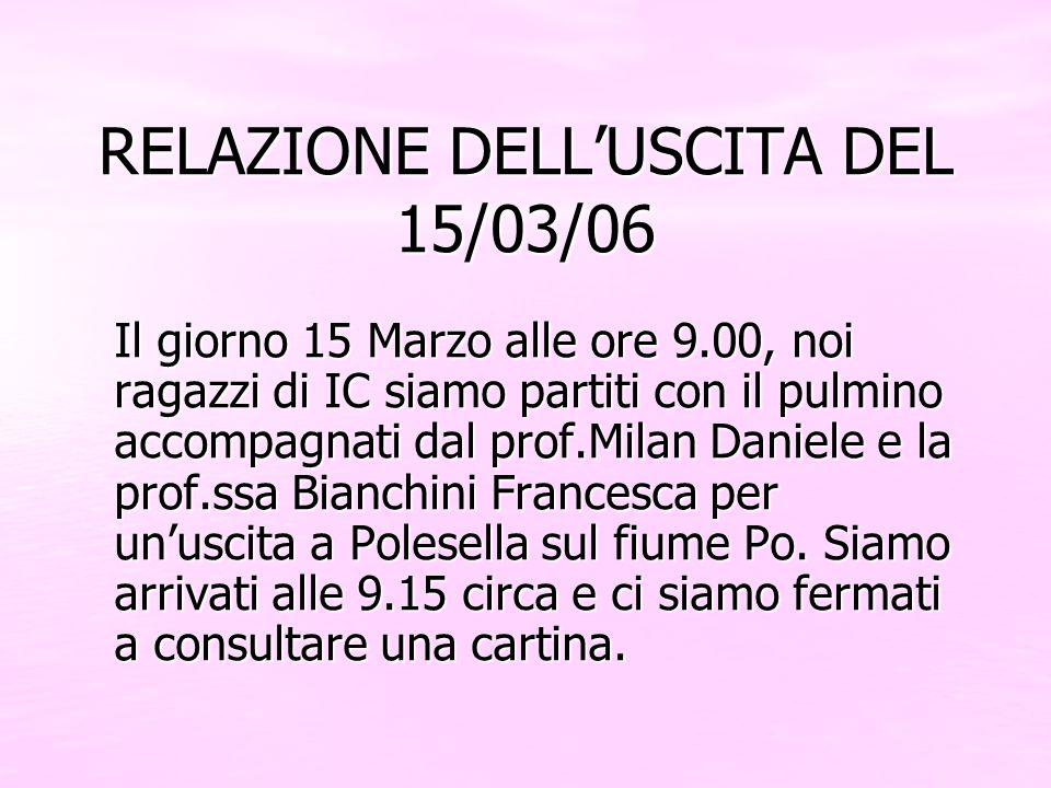 RELAZIONE DELLUSCITA DEL 15/03/06 Il giorno 15 Marzo alle ore 9.00, noi ragazzi di IC siamo partiti con il pulmino accompagnati dal prof.Milan Daniele