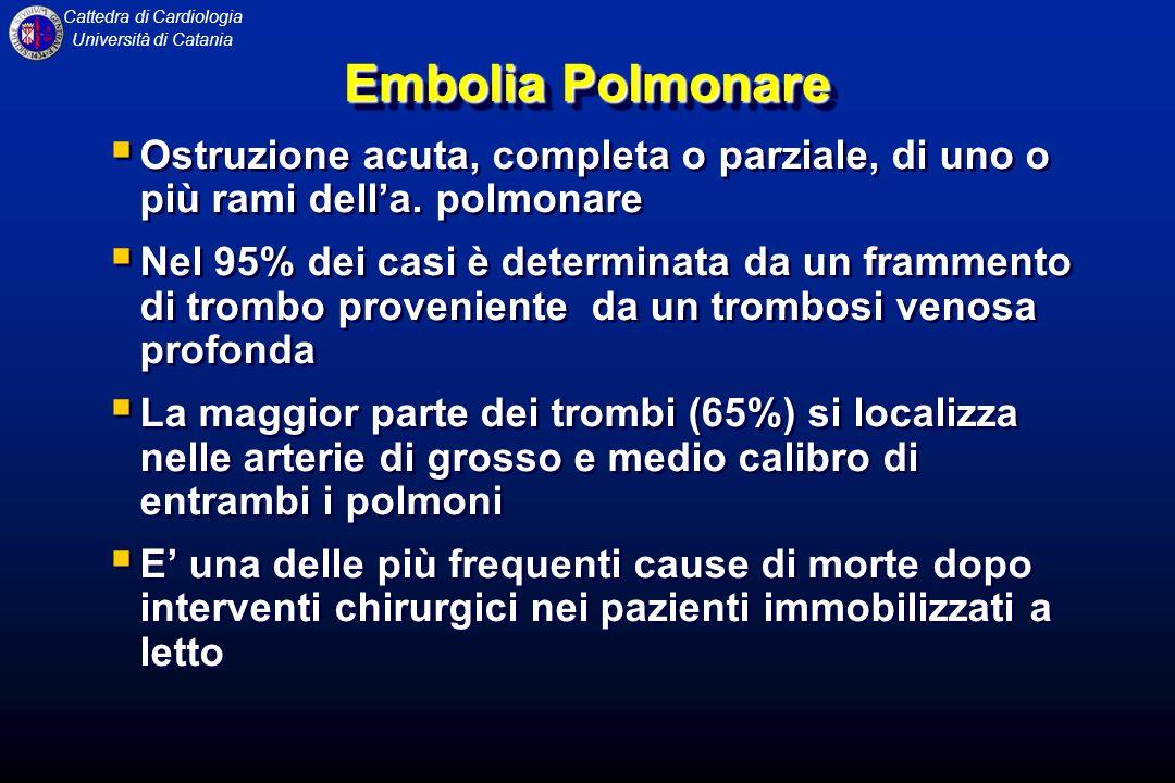 Cattedra di Cardiologia Università di Catania Embolia Polmonare Ostruzione acuta, completa o parziale, di uno o più rami della. polmonare Nel 95% dei