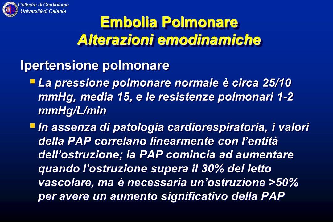 Cattedra di Cardiologia Università di Catania Ipertensione polmonare La pressione polmonare normale è circa 25/10 mmHg, media 15, e le resistenze polm