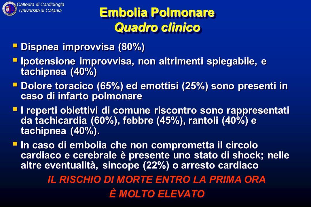 Cattedra di Cardiologia Università di Catania Embolia Polmonare Quadro clinico Dispnea improvvisa (80%) Ipotensione improvvisa, non altrimenti spiegab