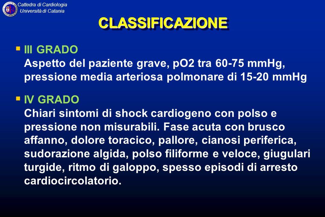 Cattedra di Cardiologia Università di CataniaCLASSIFICAZIONECLASSIFICAZIONE III GRADO Aspetto del paziente grave, pO2 tra 60-75 mmHg, pressione media