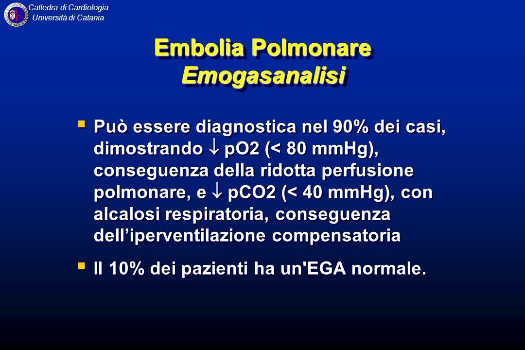 Cattedra di Cardiologia Università di Catania Embolia Polmonare Emogasanalisi Può essere diagnostica nel 90% dei casi, dimostrando pO2 (< 80 mmHg), co