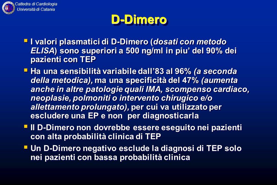 Cattedra di Cardiologia Università di CataniaD-DimeroD-Dimero I valori plasmatici di D-Dimero (dosati con metodo ELISA) sono superiori a 500 ng/ml in