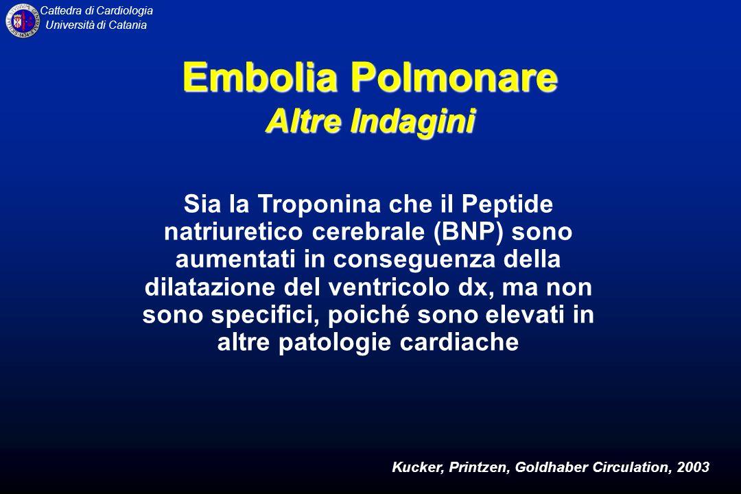 Cattedra di Cardiologia Università di Catania Sia la Troponina che il Peptide natriuretico cerebrale (BNP) sono aumentati in conseguenza della dilataz