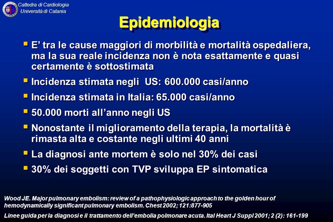 Cattedra di Cardiologia Università di CataniaEpidemiologiaEpidemiologia E tra le cause maggiori di morbilità e mortalità ospedaliera, ma la sua reale