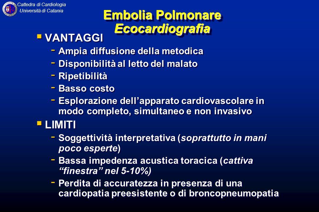 Cattedra di Cardiologia Università di Catania Embolia Polmonare Ecocardiografia VANTAGGI - Ampia diffusione della metodica - Disponibilità al letto de